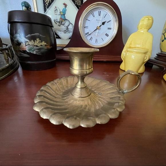Vintage brass candle holder chamberstick